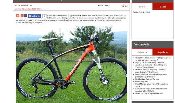 Fragment recenzji roweru Kreidler Stud 29er
