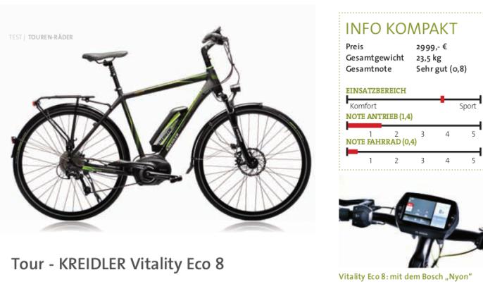 Fragment recenzji roweru Kreidler Vtality Eco 8