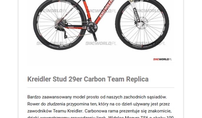 Fragment recenzji roweru Kreidler Stud 29er Carbon Team Replica