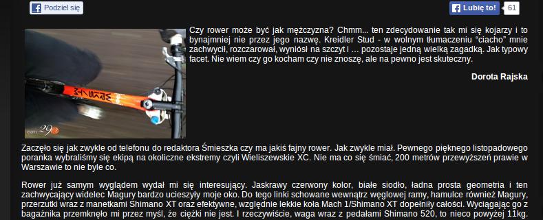 Fragment recenzji roweru Kreidler Stud 29er 01