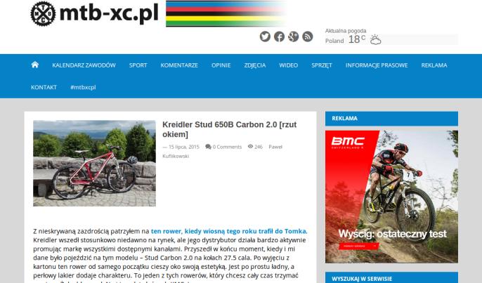 Fragment recenzji roweru Kreidler Stud 650B Carbon 2.0 01