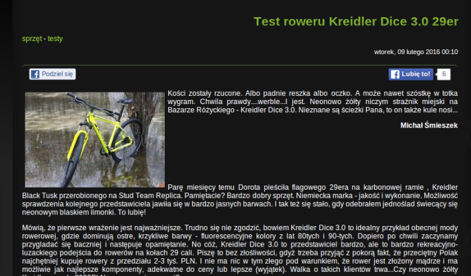Fragment recenzji roweru Kreidler Dice 29er 3.0